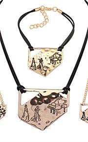 semplice metallo irregolare amanti forma braccialetto della collana set adatti europeo