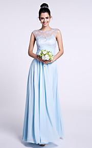 Lanting Bride Ankle-length Chiffon / Lace Bridesmaid Dress Sheath / Column Bateau with Lace