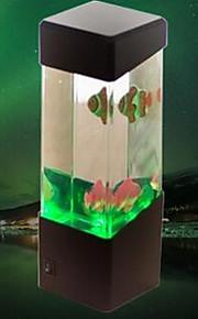 (Fisk sort) kreative mini usb akvarium små fisk lampe elektronisk førte vågelampe bordlampe
