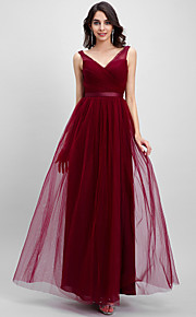 TS Couture® Ankle-length Tulle Bridesmaid Dress A-line V-neck with Criss Cross