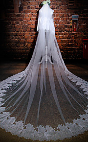 Wedding Veil Two-tier Cathedral Veils Lace Applique Edge Tulle / Lace Ivory Ivory