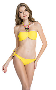 Women's Halter Bikini Lace Up  Solid Nylon  Spandex Green  Yellow  Red