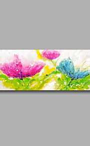 "Stretched (Ready to hang) Hand-Painted Oil Painting 48""x16"" Canvas Wall Art Modern Abstract Purple Blue Roses"