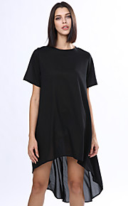 Ample Robe FemmeCouleur Pleine Col Ras du Cou Asymétrique Manches Courtes Bleu Rouge Noir Polyester Eté Non Elastique Fin