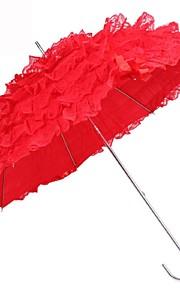 Bruiloft Teryleen Paraplu Gekruld Handvat Rood / Wit 31.1Inch(Ongeveer 79cm) Metalen 34.7Inch(Ongeveer 88cm)