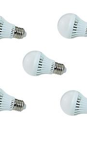 3W E26/E27 Ampoules LED Intelligentes A60(A19) 10 SMD 2835 250lm lm Blanc Froid Capteur / Audio-activé AC 100-240 V 5 pièces