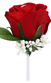 Wedding Flowers Free-form Roses Boutonnieres Wedding / Party/ Evening Red Satin