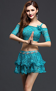 Belly Dance Outfits Women's Performance Lace / Ruched 3 Pieces Green / Red / White / Burgundy Half Sleeve