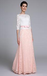 Lanting Bride® Havfrue Kjole til brudens mor Gulvlang Halvlange ermer Blonder - Belte / bånd