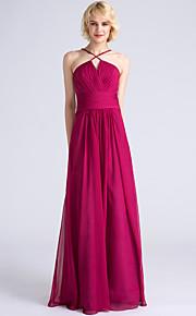 Lanting Bride Floor-length Chiffon Bridesmaid Dress Sheath / Column Spaghetti Straps with Criss Cross / Ruching