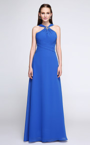 Lanting Bride Floor-length Chiffon Bridesmaid Dress - Color Block Sheath / Column V-neck with Crystal Detailing