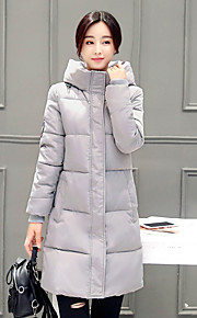 Women's Solid Blue / Pink / Red / Black / Gray Padded Coat,Street chic Hooded Long Sleeve