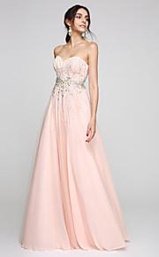 2017 ts couture® balen formell kväll klä en-linje Sweetheart golv längd tyll med beading / kristall detaljer