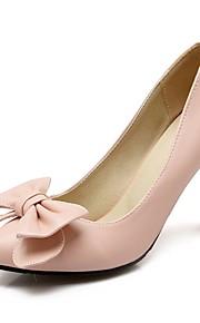 Women's Heels Summer / Fall Heels / Pointed Toe PU Office & Career / Casual Stiletto Heel Bowknot Black / Pink /