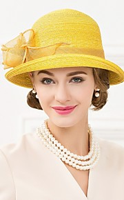 Women's Polyester Headpiece-Wedding / Special Occasion / Casual Fascinators / Hats 1 Piece Yellow Round 57