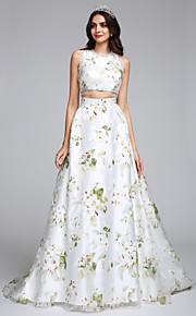 Lanting Bride® Trapèze Robe de Mariage  Traîne Brosse Bijoux Organza avec Motif