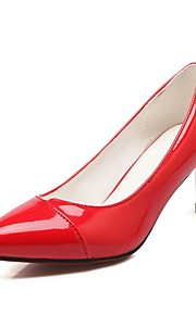 Women's Heels Summer/Fall Heels / Pointed Toe Patent Leather Office & Career / Casual Cone Heel Split Joint Black/Red/
