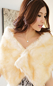 Women's Going out / Casual/Daily / Party/Cocktail Sexy / Simple Fur Coat,Solid Round Neck Sleeveless Fall