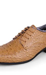 Черный / Синий / Коричневый / Желтый-Мужской-На каждый день-Кожа-На плоской подошве-Удобная обувь-Туфли на шнуровке