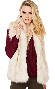 Women's Plus Size / Party/Cocktail Sexy / Simple Fur Coat,Solid Stand Sleeveless Fall / WinterWhite / Beige / Black /