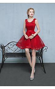 Short / Mini Satin / Tulle Bridesmaid Dress Ball Gown Scoop with Appliques / Beading