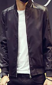 남성의 자켓 퓨어 긴 소매 캐쥬얼 나일론,블랙 / 브라운