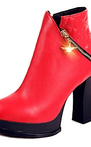 Women's Boots Fall / Winter Bootie / Round Toe PU Office & Career / Casual Chunky Heel Zipper Black / Red / White Others