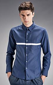 Camisa De los hombres A Cuadros Casual-Algodón-Manga Larga-Azul / Blanco / Gris