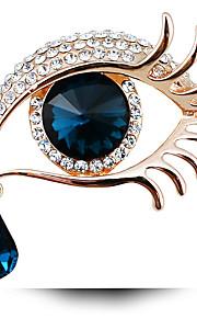 damesmode vintage vol strass lange wimpers grote ogen sieraden broche pinnen