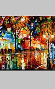 Dipinta a mano Astratto / Paesaggi / Paesaggi astratti Dipinti ad olio,Modern Un Pannello Tela Hang-Dipinto ad olio For Decorazioni per