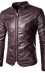 남성의 자켓 퓨어 긴 소매 캐쥬얼 / 정장 / 플러스 사이즈 스페셜 가죽 타입,블랙 / 레드