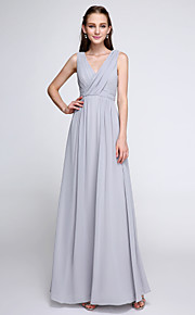 Lanting Bride Ankle-length Chiffon Bridesmaid Dress - Color Block Sheath / Column V-neck with Criss Cross