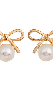 Korean Fashion Jewelry Gold Plated Bowknot Earrings Round Pearl Stud Earrings for Women Jewelry
