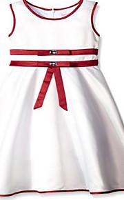 Trapèze Mi-long Robe de Demoiselle d'Honneur Fille - Jersey Sans Manches Bijoux avec Détail Cristal / Ceinture / Ruban
