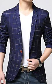 남성의 블레이져 체크무늬 긴 소매 캐쥬얼 / 작업/오피스 면 / 아크릴 / 폴리에스테르 블루 / 브라운