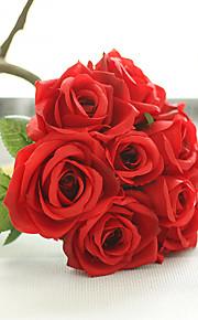 1 1 ענף פוליאסטר ורדים פרחים לשולחן פרחים מלאכותיים 27CM