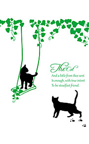 Wall Stickers Wall Decals Style Lovely Black Cat Swing PVC Wall Stickers