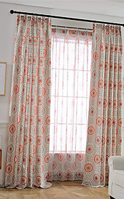 Linen Bright Coloured Flower Printing Curtain (Two Panel)