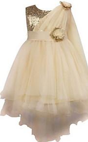Robe de Soirée Longueur Genou Robe de Demoiselle d'Honneur Fille - Dentelle / Organza Sans Manches Bijoux avec Fleur(s) / Ceinture / Ruban