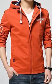 남성의 자켓 퓨어 긴 소매 캐쥬얼 면,블랙 / 블루 / 오렌지 / 레드 / 옐로