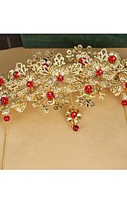 Véus de Noiva Uma Camada Peça para Cabeça com Véu Corte da borda Cetim Dourado
