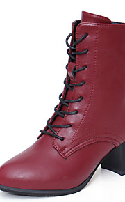 Women's Boots Fall / Winter Fashion Boots PU Casual Chunky Heel Zipper Black / Burgundy Others