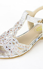 Girl's Sandals Summer Slingback Leatherette Casual Flat Heel Sparkling Glitter Pink / Silver / Champagne Others