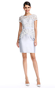 2017 ts couture® prom cocktailparty klänning slida / kolumn Bateau knälång spets / satin med spets / skärp / band