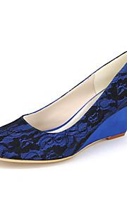 Homme-Mariage / Soirée & Evénement-Noir / Bleu / Rose / Ivoire / Blanc-Talon Compensé-Compensées / Bout Arrondi-Chaussures à Talons-Soie