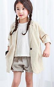 Mädchen Anzug & Blazer-Ausgehen einfarbig Baumwolle / Polyester Sommer / Frühling Beige