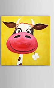 מצויר ביד מופשט / טבע דומם / בעלי חיים ציורי שמן,קלאסי / סגנון ארופאי / מודרני פנל אחד בד ציור שמן צבוע-Hang For קישוט הבית