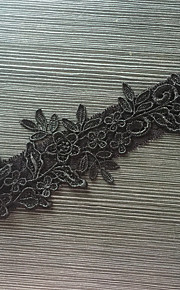 Garter Stretch Satin / Lace Flower Black