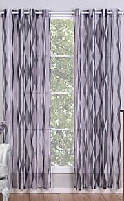 Deux Panneaux Le traitement de fenêtre Moderne , Géométrique Salle de séjour Polyester Matériel Sheer Rideaux ShadesDécoration