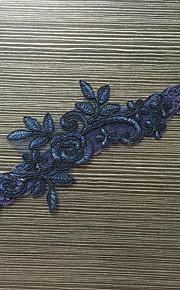 Garter Stretch Satin / Lace Flower Blue